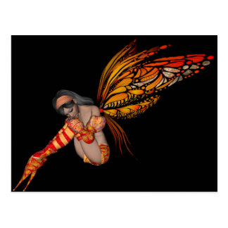 Orange Monarch Butterfly 3D Pixie - Fairy 2 Postcard
