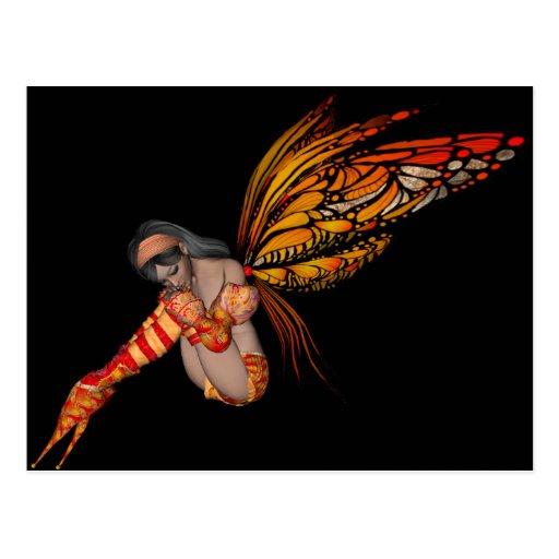 Orange Monarch Butterfly 3D Pixie - Fairy 2 Postcards