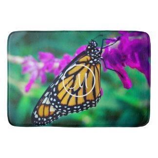 Orange monarch butterfly close-up custom monogram bath mat