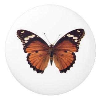 Orange Monarch Butterfly vintage art Ceramic Knob