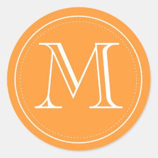 Orange Monogram Envelope Seal by Origami Prints Round Sticker