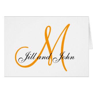 Orange Monogram First Names Wedding Cards