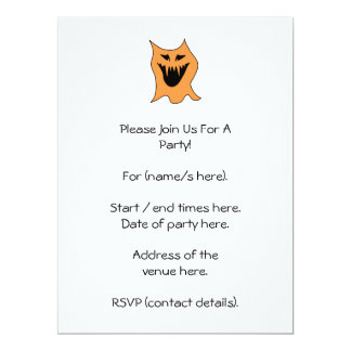 Orange Monster. 17 Cm X 22 Cm Invitation Card