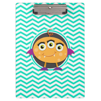 Orange Monster; Aqua Green Chevron Clipboards
