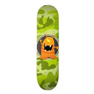 Orange Monster; bright green camo, camouflage Skate Board Decks