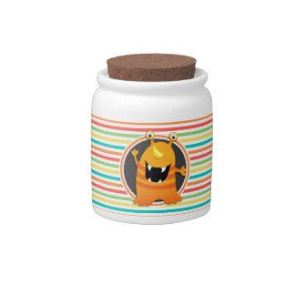 Orange Monster; Bright Rainbow Stripes Candy Jar