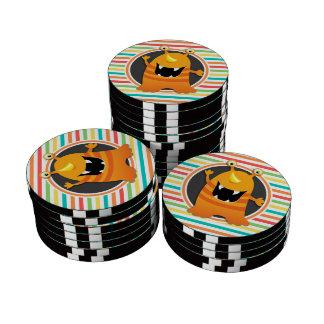 Orange Monster; Bright Rainbow Stripes Set Of Poker Chips