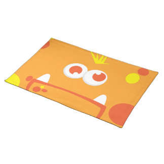 Orange Monster Face Placemat