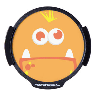 Orange Monster Face Window Decal LED Car Window Decal
