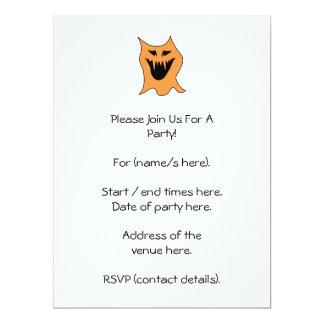 "Orange Monster. 6.5"" X 8.75"" Invitation Card"