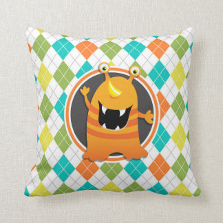 Orange Monster on Colorful Argyle Pattern Cushion