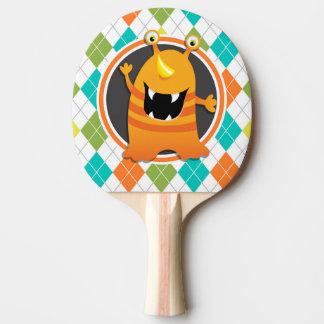Orange Monster on Colorful Argyle Pattern Ping Pong Paddle