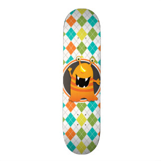 Orange Monster on Colorful Argyle Pattern Skate Decks