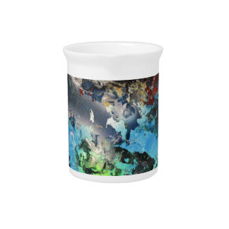 Orange Moon over the forest and misty mountains Beverage Pitcher