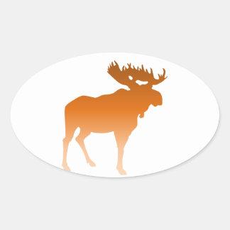 Orange Moose Oval Sticker