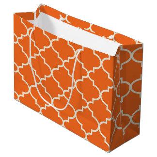 Orange Moroccan Lattice Pattern Large Gift Bag