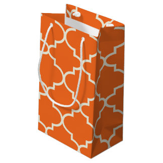 Orange Moroccan Lattice Pattern Small Gift Bag