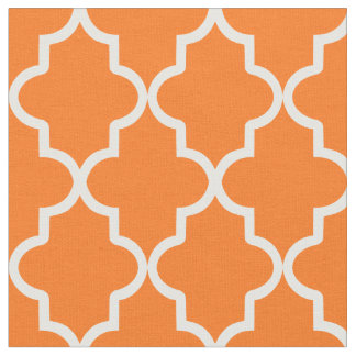 Orange Moroccan Quatrefoil Fabric
