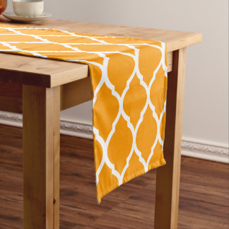 Orange Moroccan Quatrefoil Short Table Runner