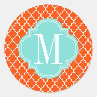 Orange Moroccan Tiles Lattice Personalized Classic Round Sticker