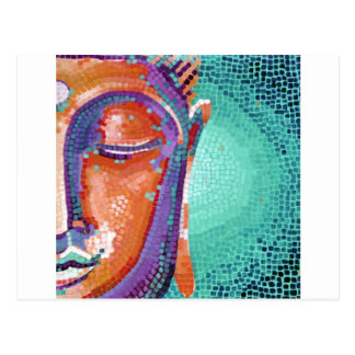 Orange mosaic buddha face postcard
