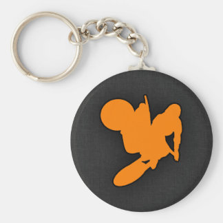 Orange Motocross Basic Round Button Key Ring