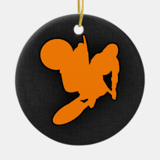 Orange Motocross Christmas Ornament