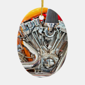 Orange Motorcycle Engine Closeup Christmas Ornament