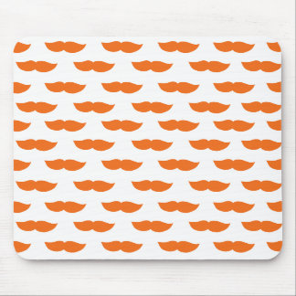 Orange Moustaches Mouse Pad