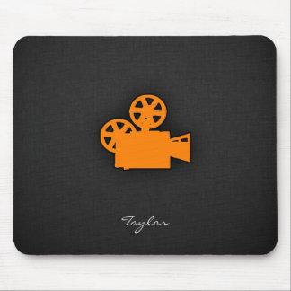 Orange Movie Camera Mouse Mat