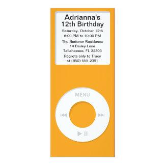 Orange MP3 Player iParty Birthday Party Custom Invitation