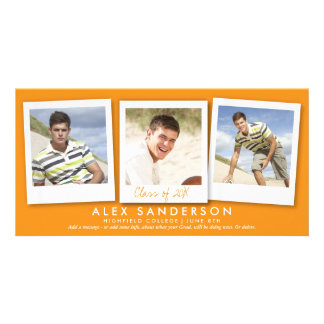 Orange Multi Photo Graduation Announcement Custom Photo Card