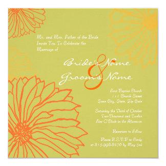 Orange Mum Flowers Wedding Invitation