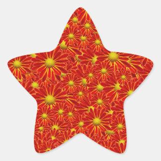 Orange Mums Star Sticker