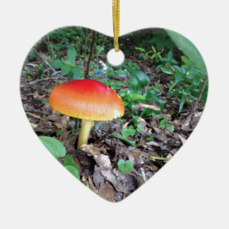 Orange Mushroom in Forest Ceramic Heart Decoration
