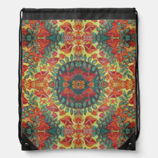 orange mushroom mandala drawstring backpack