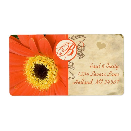Orange Musical Gerber Daisy Grey Musical Notes Shipping Label