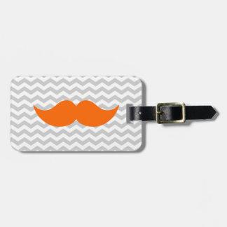 Orange Mustache Gray Chevron Stripe Bag Tag