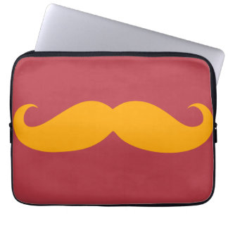 Orange Mustache Laptop Sleeve