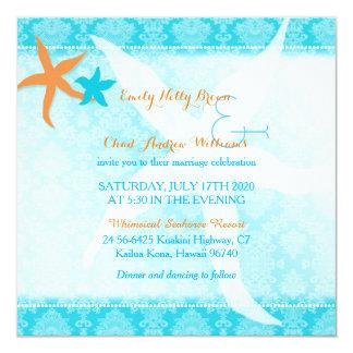 Orange n Teal Blue Starfish Pair Beach Wedding 13 Cm X 13 Cm Square Invitation Card