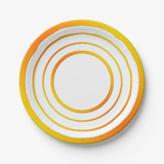 Orange n Yellow Rings Paper Plate