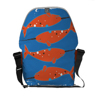 Orange Narwhal Messenger Bag