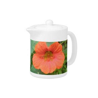 Orange Nasturtium Flower Teapot