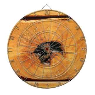 Orange natural wood with black hole and spiderweb dartboard