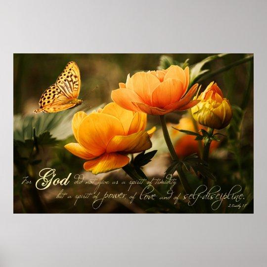 Orange Nature Spiritual Scripture Verse Poster
