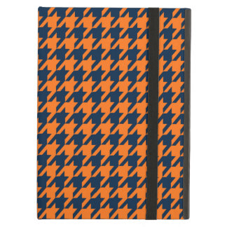 Orange/Navy Blue Houndstooth iPad Air Cover