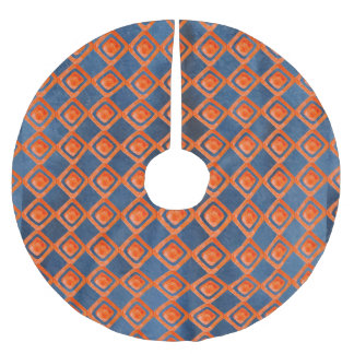 Orange Navy Blue Watercolor Pattern Brushed Polyester Tree Skirt
