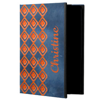 Orange Navy Blue Watercolor Pattern Case For iPad Air