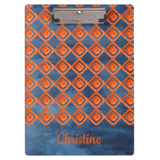 Orange Navy Blue Watercolor Pattern Clipboard