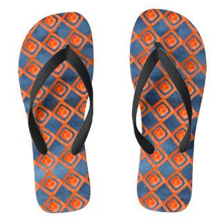 Orange Navy Blue Watercolor Pattern Flip Flops